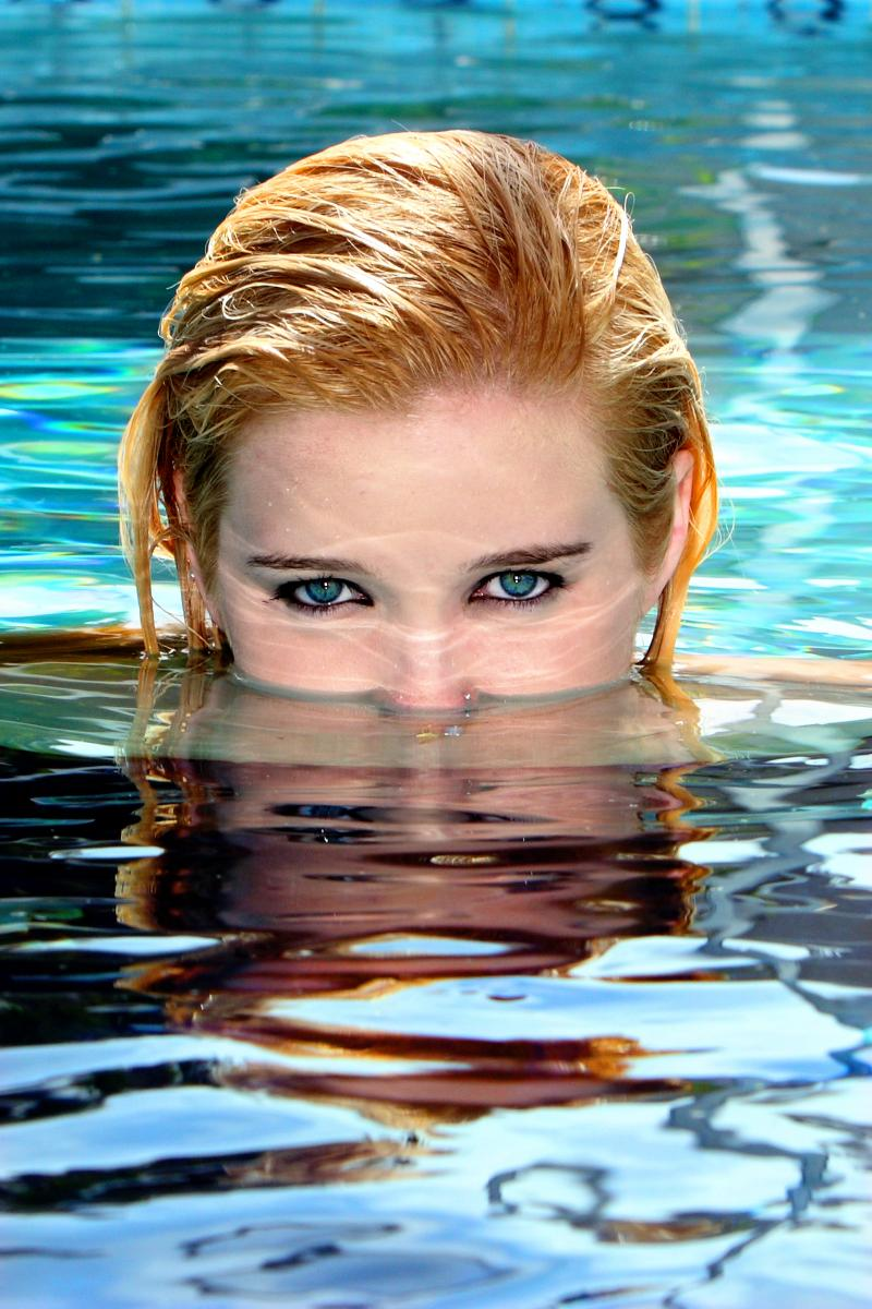 Senior Portrait in the Pool