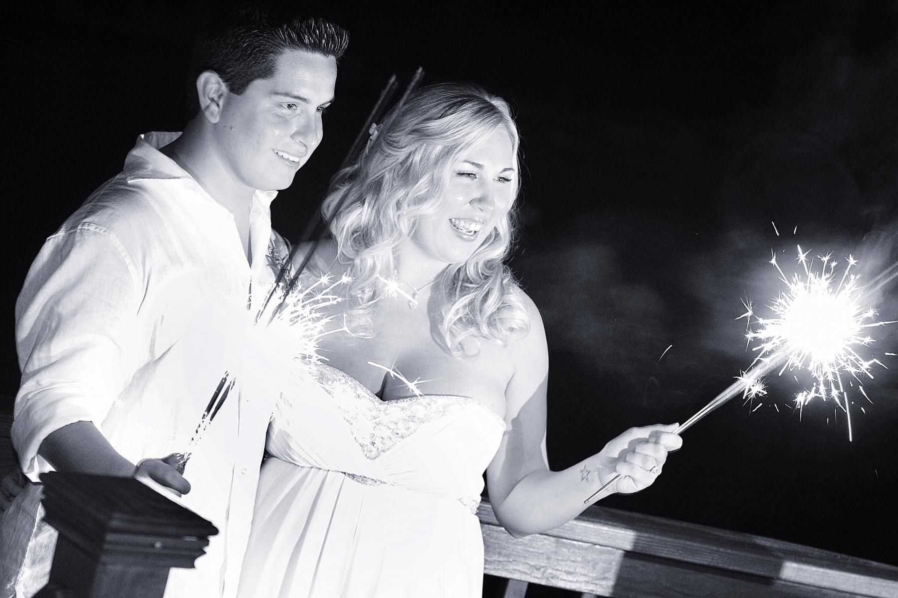 Marco Island Beach Wedding Sparklers