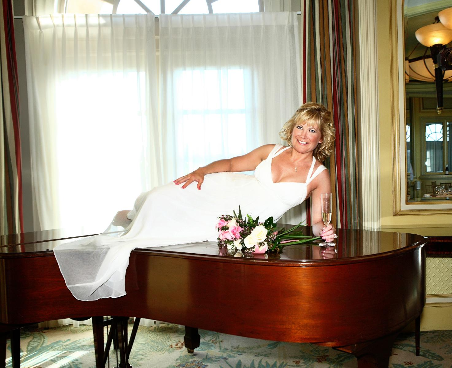 Debbie on the piano. Ritz-Carlton